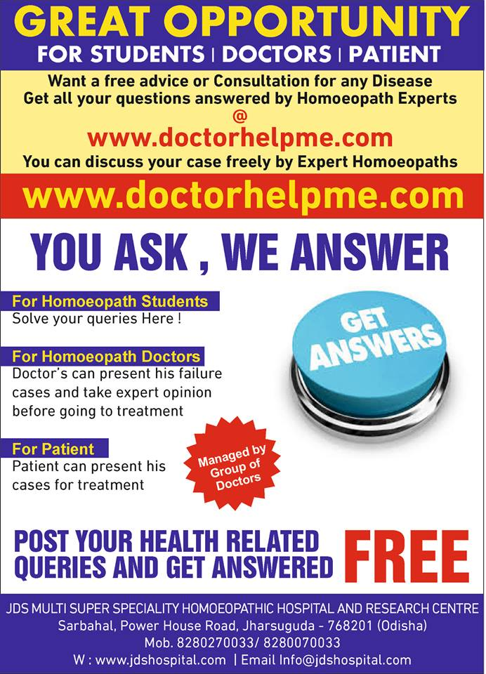Free Online Homoeopathic discussion forum for Doctors, Students & Patients.